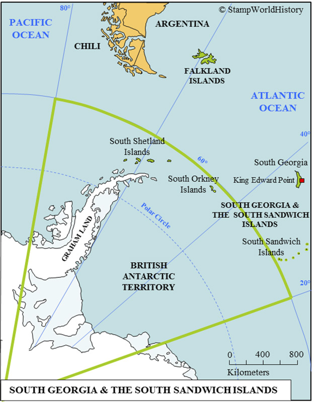Südgeorgien und die Süd-Sandwich-Inseln gehören zum britischen Überseegebiet im Süd-Atlantik. Südgeorgien ist 165 Kilometer lang und 1 bis 35 Kilometer breit. Die Gewässer um Südgeorgien herum beherbergen eine der gröβten Artenvielfalten der Welt. (Credit: Stamp World History)